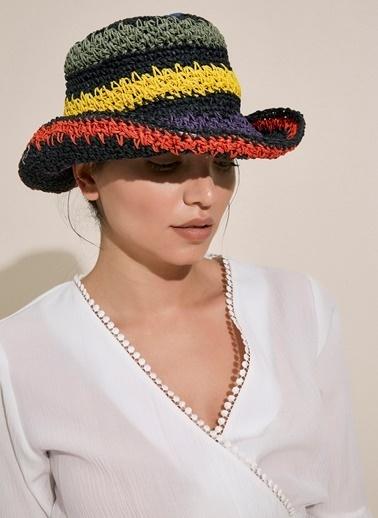 Morhipo Beach Renkli Örgülü Hasır Şapka Siyah